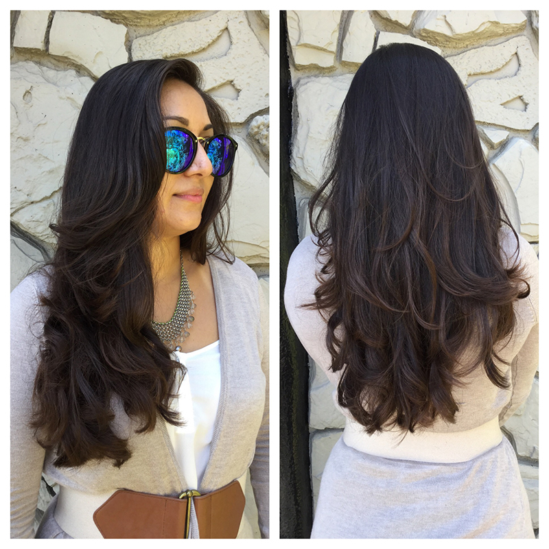 brunette wavy hair with layers haircut
