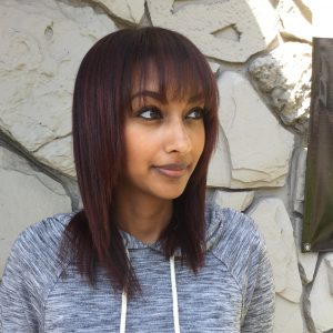 long bob for dark auburn red hair
