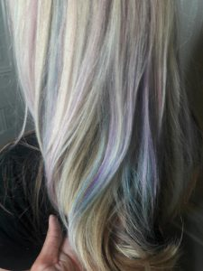 pastel highlights on blonde hair