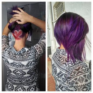 purple hair color for concave bob haircut