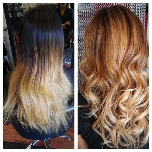 ombre warm blonde transformation