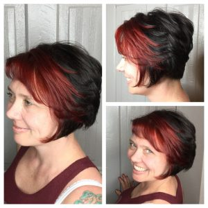 red streak hair color specialist for stacked bob in san diego