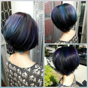 blue and purple short hairstyle