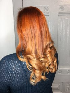 warm red ombre curly hair