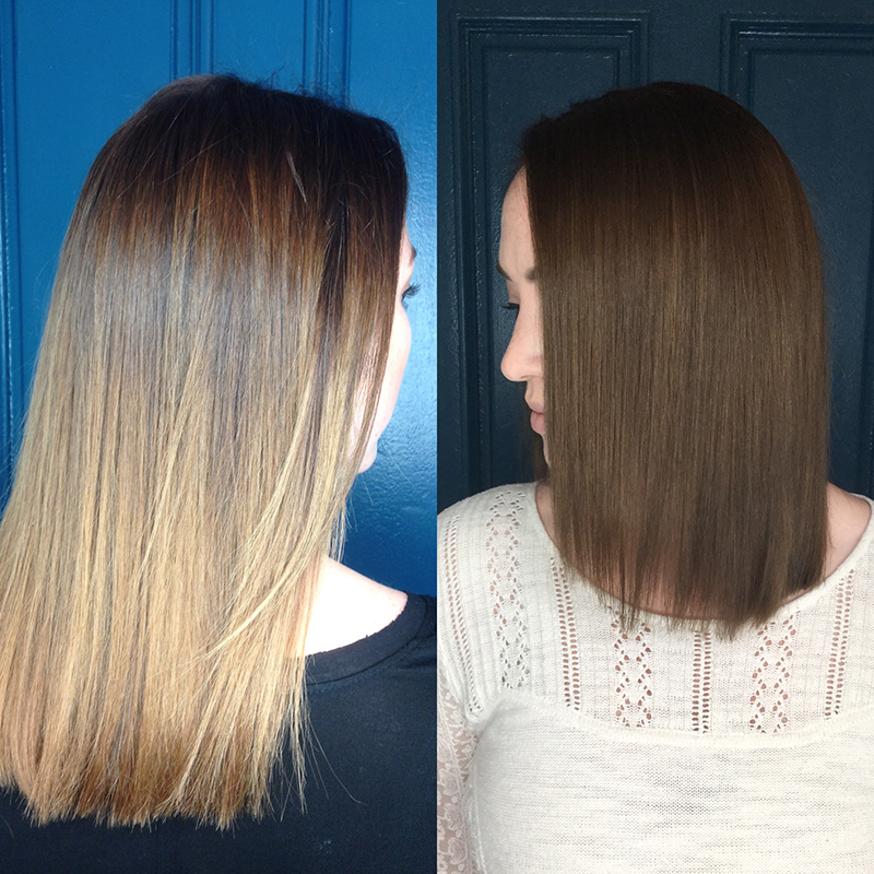 blonde to brunette color and cut transformation