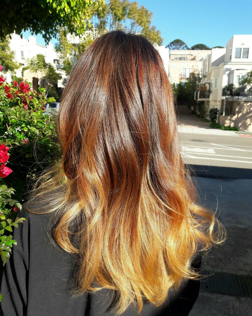 warm brown to blonde ombre